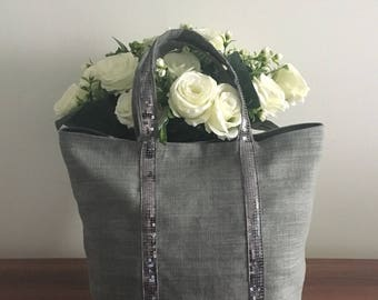 Grey linen tote bag / grey shopper / grey bag with sequins / linen beach bah