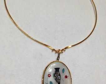 Vintage Zuni Cardinal Bird Necklace- Inlay Mother of Pearl, Abalone, Rhinestones on Wire Necklace