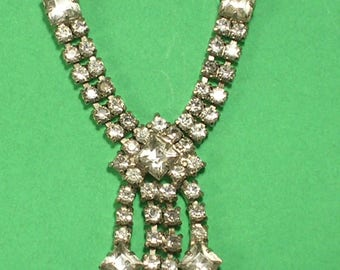 Rhinestone Choker Necklace with Square Cut Stones for Wedding or Prom, New Years