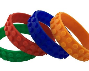 Lego Compatible Bracelets, Set of 4 Building Block Bracelets - Create Anywhere - Wearable, Reusable & Non Toxic - Red, Green, Orange, Blue