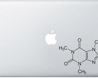 Caffeine Molecule Decal for computer , wall or bumper sticker