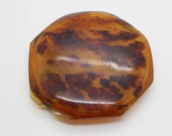 Vintage Faux Tortoiseshell Plastic 1930s Art Deco Powder Compact Case
