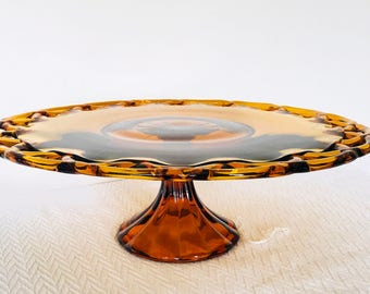 Vintage Old Colony Open Lace Amber Cake Stand