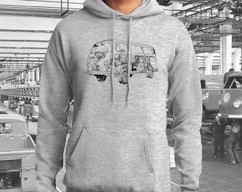 Volkswagen Bay Window Bus Hoodie.  Full front print on a ash grey preshrunk Hoodie.