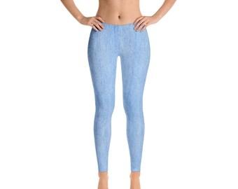 Light Wash Denim Look Print Leggings for Women