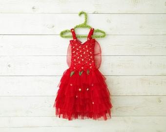 Red Tutu Dress, Fairy Dress, Fairy Wings, Sequin Dress, Butterfly Wings, Flower Girl, Floral Dress, Wedding, Flower Girl Dress, Red Tutu