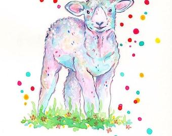 """Art print watercolor painting """"Sheep""""-Signed-sheep"""