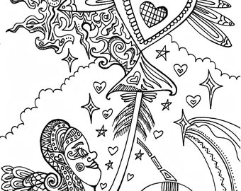 Cupid Love Colouring Page