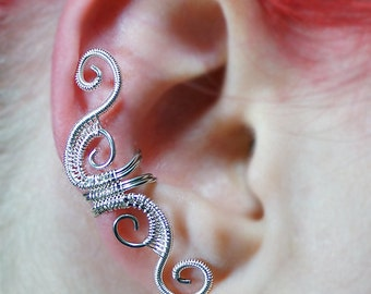 Ear Cuff - Silver Woven Full Size Swirly Cuff