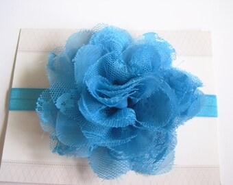 Blue Lace Chiffon Baby Headband, Infant Headbands, Baby Girl Headbands, Infant Bows, Baby Bows, Newborn Headbands