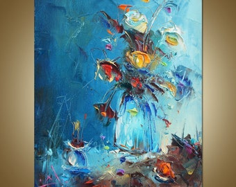 Blumen Malerei, Blumenkunst, Original Ölgemälde, Moderne Malerei, Leinwand  Kunst, Blumen Ölgemälde