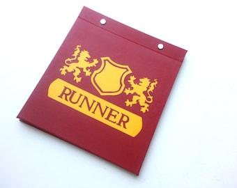 Race Bib Holder - Royal Shield and Crest Runner - Gift for runner - Hand-bound Book for Runners Burgundy and gold