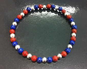 925 sterling silver, lapis lazuli and Red Jasper bracelet