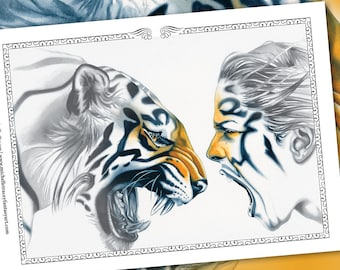 Grayscale Coloring Pages 'Tiger Totem' (Package) - Fantasy, Tigers, Animals, Animal, Digital Stamp, Greyscale Colouring For Adults, Art, jpg