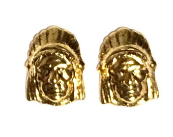 Gold Native American Cufflinks, Mens Handcrafted Indian Tribe Chief Cuff Links- Groom Wedding Guys Prom Mans Gift