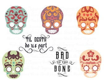 Sugar Skull Set SVG- 5 Sugar Skulls 2 Quotes - SVG Cutting File - Instant Download Dxf, Eps, Png, Svg files