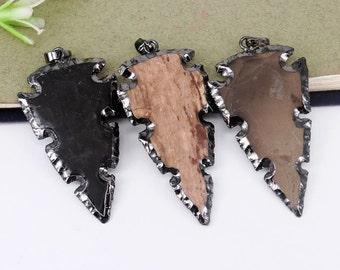 5pcs Nature Jasper Arrow Druzy pendant,Gunmetal Black Plated Druzy Gemstone Arrow pendant,For Jewelry Making