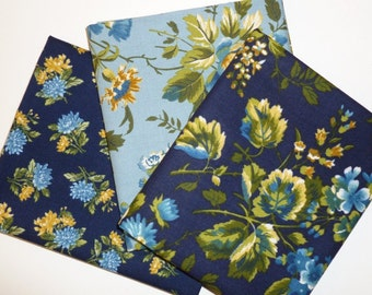 Blue Fat Quarters, Quilt Fabric Bundle of 3 Floral Prints, Cotton Material For Quilting Crafting, Cottage Chic Blue Fabric Seamstress Gift