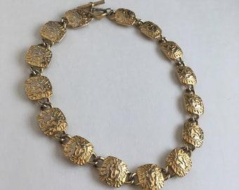 Vintage Anne Klein lionhead logo gold tone necklace