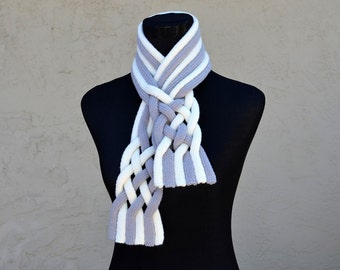 Knitting Pattern Only - Braided String Scarf