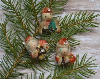 3 Vintage Spun Cotton & Chenille Christmas Clip-On Earrings