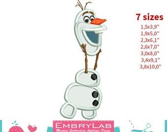 Applique Snowman Olaf. Frozen. Machine Embroidery Applique Design. Instant Digital Download (17332)