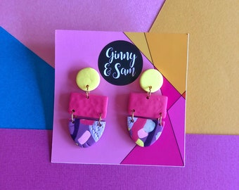 Pink, Yellow and Purple Dahlia Earrings    Polymer Clay Earrings