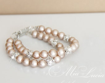 Pearl Bracelet Swarovski Blush Bridal Jewelry Wedding Champagne Pearl Bracelet Double Strand Pearl Bracelet Light Beige Shine art. b05