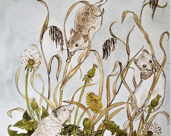 Mice in Wildflowers Original Painting
