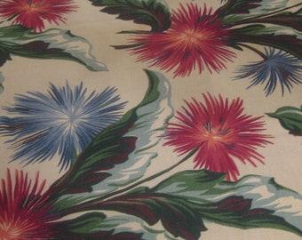 1950's Floral Barkcloth Panel
