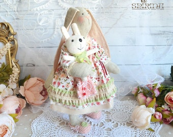Bunny - Tilda bunny - Bunny doll- Вunny Rabbit Stuffed Toy in Dress - Rag doll bunny - Gift for girl Personalized Baby gifts girls Kids toys