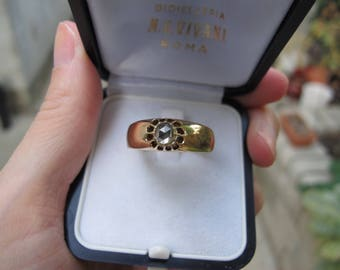 Antique Foil Back Rose Cut Diamond Solitaire Engagement Ring in 14k Yellow Gold