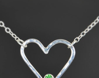 Emerald Heart Necklace, Sterling Silver,  Mothers Necklace, May Birthstone Necklace, Emerald Necklace, Mother Necklace, Heart Pendant