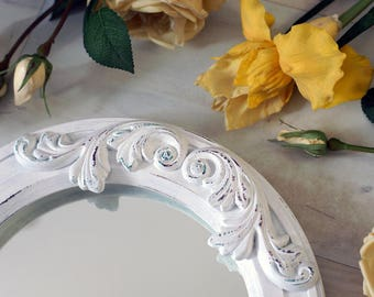 "Round mirror ""Megaras"" decorated Plaster Element / Shabby Chic Wall Mirror / Circle Wooden Mirror / Rustic Vintage Style / Unique Mirror"
