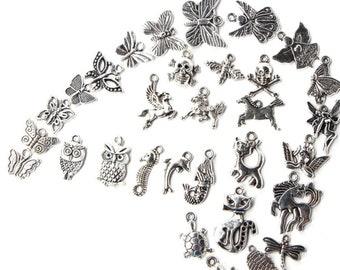 Mix Variety - Wholesale - Charms - Pendants - Butterflies - Mixed - 100 PCS - Assorted - Antique Silver - Create Your Own Bracelet - Resale