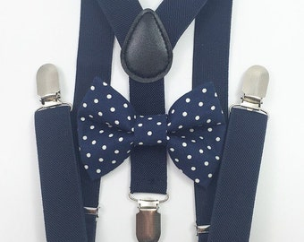 FREE DOMESTIC SHIPPING! Navy blue Suspenders + Navy Blue Polka Dots Bow Tie baby toddler kids boy family photoshoot photos formal