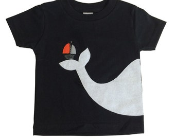 Big Whale and Little Sailboat Kids T-Shirt
