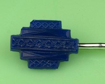 Vintage Blue Glass Button Hair Pin