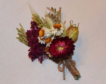 Boutonniere, Wedding Boutonniere, Burgundy Boutonniere, Dried flower boutonniere - Can be Custom Made to Order