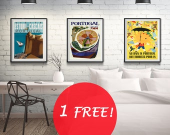 Portugal Travel Poster Portuguese Wall Art Triptych - 3 Print Set (7 sizes available)