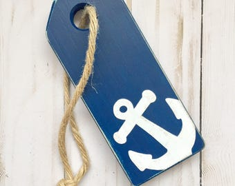 Nautical Home Accents, Nautical Nursery Anchor, Anchor on Rope, Hanging Anchor, Anchor Tag, Small Nautical Gift, Distressed Nautical Decor