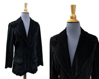 """1970s Black Velvet Velveteen Jacket Vintage ~ Flared Lapels ~ Fitted Blazer ~ 36"""" Bust Medium ~ Dandy Steampunk"""