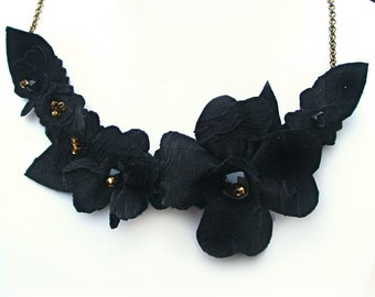 Black Flower Bib Necklace, Fabric Jewelry with Gold Colour Beads, Elegant Necklace for Evening Wear, Black Necklace, Black Floral Jewelry