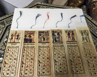 Unique  6 Egyptian Gods And Goddess Bookmark Painted Papyrus Mad in Egypt