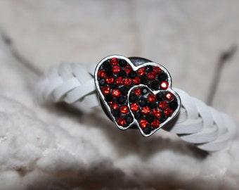 White Leather Adjustable Snap Bracelet/Plus a free snap