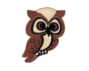 ao46 Owl bird Brown animal Embroidery Patch Size 5.0 x 6.5 cm