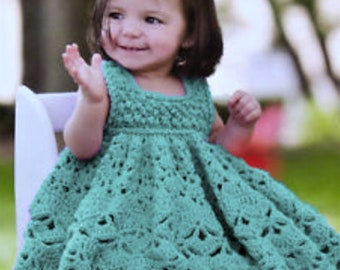 Vintage Crochet Pattern Baby Girl Pretty Lacy Frilly Party Dress PDF Instant Digital Download Newborn - 12 months 8 Ply