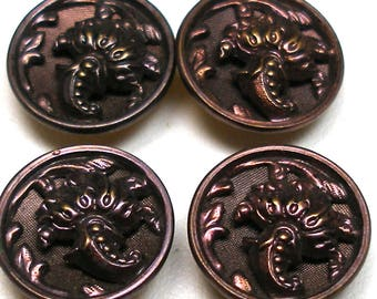 "Antique French BUTTONS, 4 Victorian cornucopia in plum, unused. 9/16""."