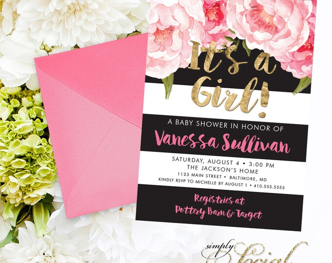 Floral Baby Shower Invitation - Floral Peony Blush Faux Gold Foil Black Stripes Boho Flowers Pink Watercolor Botanical It's a Girl Printable
