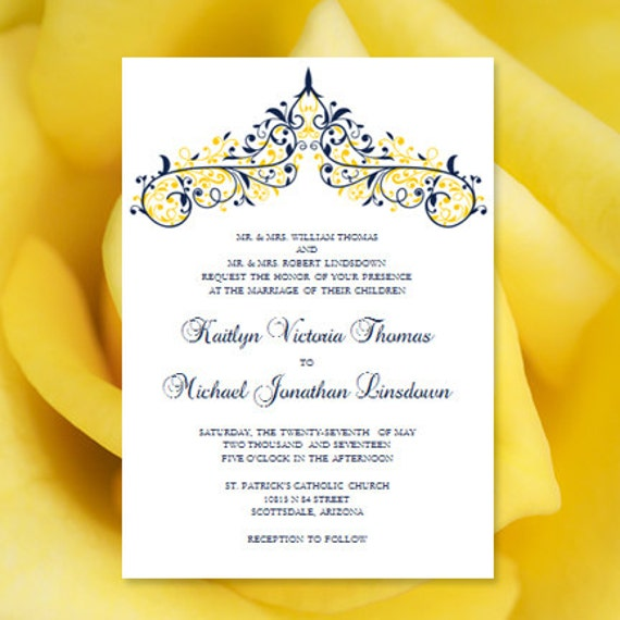 Printable wedding invitation template victoria navy blue yellow editable word doc instant download all colors diy you print